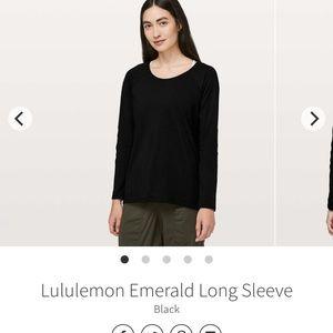 Lululemon Emerald Long Sleeve Black 6 NWOT